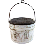 'Ye Olde Oaken Bucket' Milk Glass Candy Container with the Tin Lid & Bail