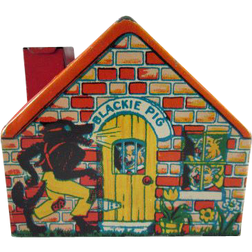 Chein Tin Litho Three Little Pigs House Bank c.1930