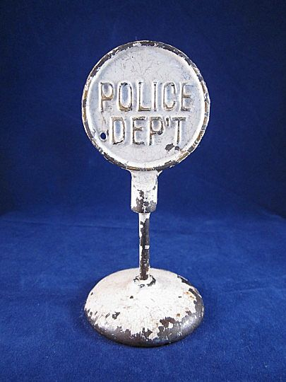 Arcade Cast Iron Round 'Police Dep't.' Sign 1924-1936