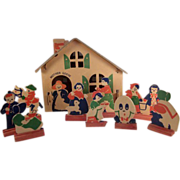 American Heavy Cardboard 'Mother Goose' House with 9 Figures