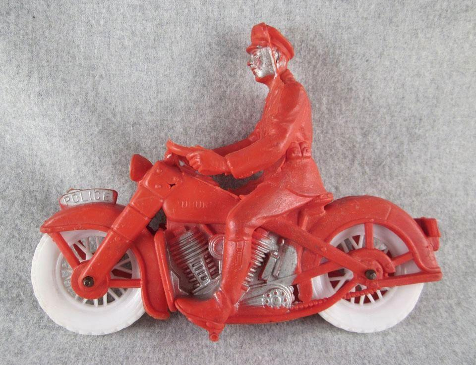 Auburn Rubber Police Motorcycle Toy From Milkweedantiques