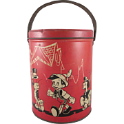 Walt Disney Productions Pinocchio Tin Litho Round Lunch Pail