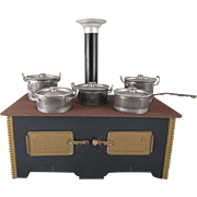 Vintage Tin Toy Stove Complete with 5 Covered Pans and Smoke Stack