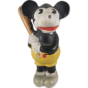 Bisque Mickey Mouse Baseball Player Holding a Bat Figure Walt E. Disney