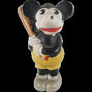 Bisque Mickey Mouse Baseball Player Holding a Bat Figure Walt E. Disney