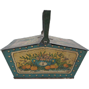 Tin Litho Penny Toy Picnic Basket Fruit Design