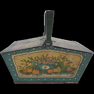 Tin Litho Penny Toy Picnic Basket Fruit Design