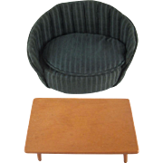 """Strombecker 8"""" Doll Coffee Table with Stuffed Sofa Doll Furniture"""
