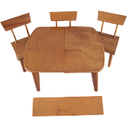 "Strombecker Mid-Century Modern 8"" Doll Furniture Table with a Leaf, and 3 Chairs"