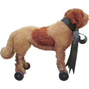Early Steiff Mohair St. Bernard Dog on Wooden Wheels Pull Toy