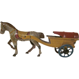 Vintage Made in Germany Tin Litho Penny Toy Horse Drawn Cart