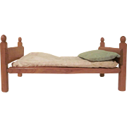 "Strombecker Single Bed for 7-8"" Dolls with a Mattress and Pillow Mid Century Modern"