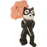 Vintage Celluloid Felix the Cat Holding a Pink Umbrella Rattle Toy