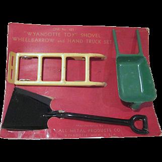 Wyandotte Pressed Steel Wheelbarrow, Shovel, and Hand Truck on Original Card