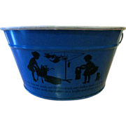Child's Tin Toy Wash Tub with a Silhouette of Girls Doing Laundry - Red Tag Sale Item