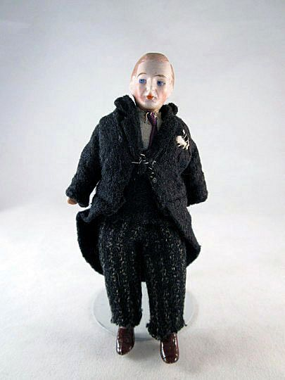 1920s Bisque Shoulder Head Dad Dollhouse Doll