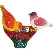 Tin Litho Birds Feeding Babies in Nest Made in Japan Clicker