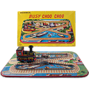 Busy Choo Choo Tin Litho Windup Toy in Original Box Works