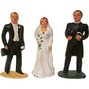 Barclay Slush Metal 3 Piece Wedding Cake Topper Set 1930s