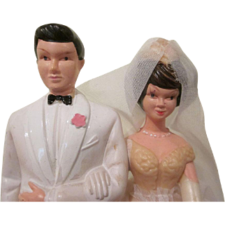 Hard Plastic with Tulle 1960s Wedding Cake Topper Bride and Groom