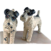Pair of Spelter Terriers on Soapstone/Marble Desk Dish