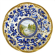 Antique Topographical Plate 1858 Named Scene Maiden Head On Thames Hand Painted Artist Signed