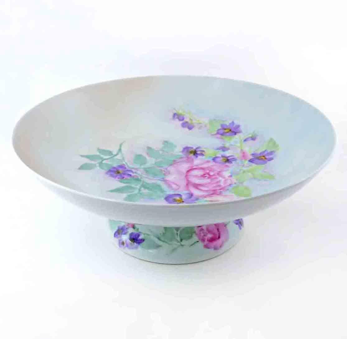 Vintage Pedestal Bowl Hand Painted Flowers Porzellanfabrik Schoenwal Arzberg Germany