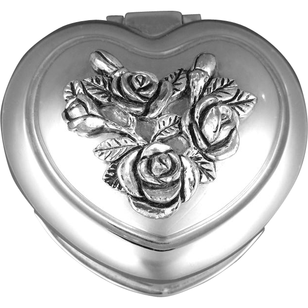 Vintage Heart Trinket Jewelry Box Silver Plate Raised Roses Buds & Leaves Red Velvet Interior