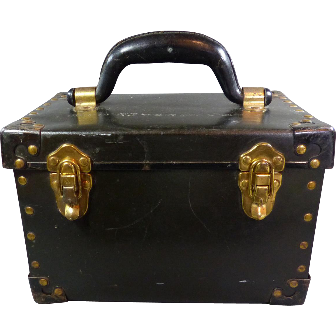 Antique Leather Carrying Case With Metal Edges & Metal Studs