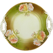 Cabbage Rose Porcelain Platter With Gilded Edge & Handles circa 1904-1924 Schwarzburg Germany