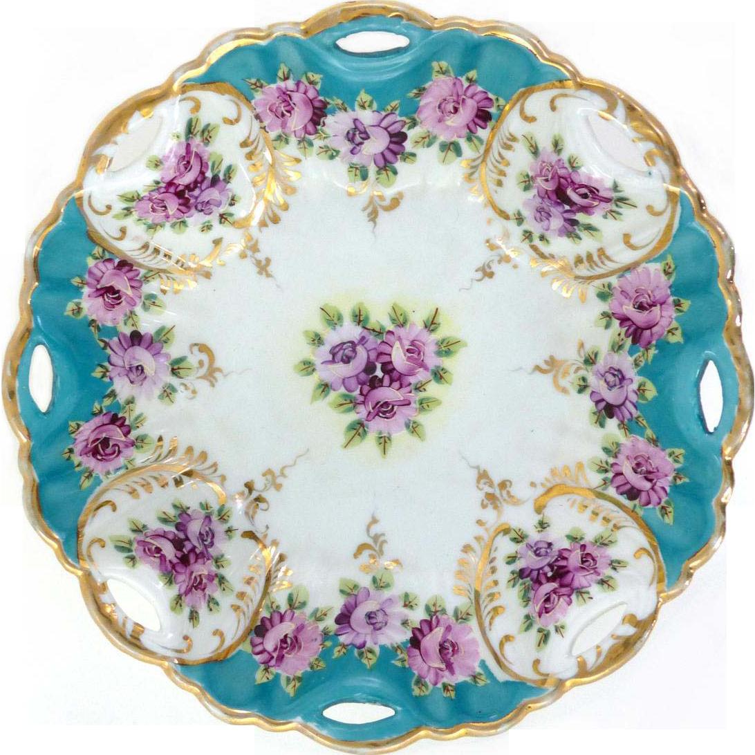 Porcelain Bowl Violets With Gold Trim Asian Mark