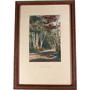 Hand Colored Photograph Signed Gibson Titled The Birch Woods Wallace Nutting Era