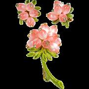 Vintage Pin & Earring Set Pink Lucite Moon Glow Beads Rhinestones Set On Green Enamel