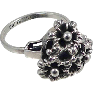 Vintage Danecraft Sterling Silver Ring  Unusual Adjustment Fits Sizes 6 to 7 1/2