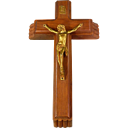 Vintage Sick Call Last Rites Cross Large Wood Cross with Two Candles