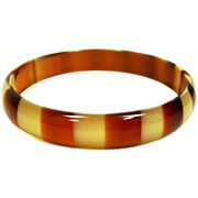 Vintage Lucite Bracelet Bangle Tortoise Shell Root Beer Colored Stripes  1960's Dupont Lucite Bracelet