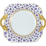 Delinieres & Co. Limoges Violet Bowl Heavy Gilt Trim D & Co. Limoges Circa 1894 - 1900