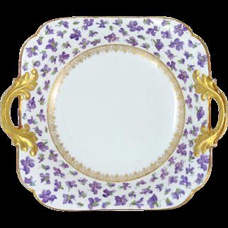 Delinieres & Co. Limoges Violet Bowl Heavy Gilt Trim D & Co. Limoges Circa 1894 - 1900