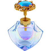 Iridescent Glass Perfume Atomizer Bottle Jeweled Top Vintage West Germany Label