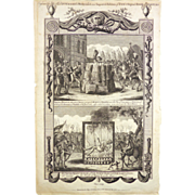 Antique Leaf Page Foxe's Book Of Martyrs by Hogg Published 1794 Burning of The Martyrs