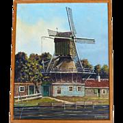 Windmill Landscape Oil On Canvas by Dutch Listed Artist George Brocken (1917-1994)