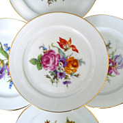 """Bavaria Germany Set of 5 Plates Various Floral Bouquets Trimmed In Gold 7 1/2"""""""