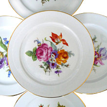 Bavaria Germany Set of 5 Plates Various Floral Bouquets Trimmed In Gold 7 1/2""