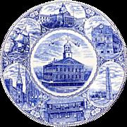 Blue & White Souvenir Plate The Boston Plate Old Staffordshire Ware JonRoth
