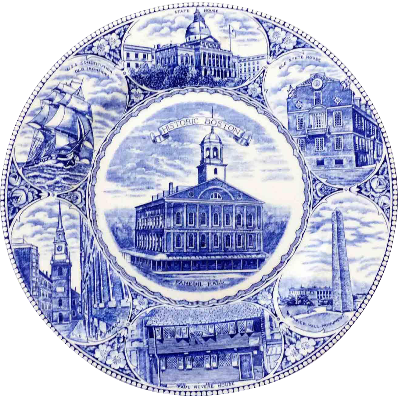 blue white souvenir plate the boston plate old