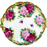 Antique Hand Painted Tray Platter Roses & Gold Bow Shaped Handles