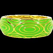 Vintage Clamper Bracelet Hinged Bracelet Green Enamel & Gold Tone