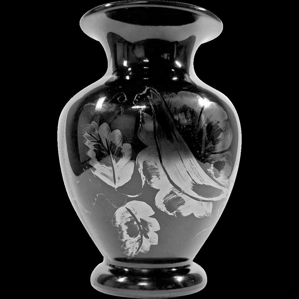 fenton art glass vase silver overlay black glass hand. Black Bedroom Furniture Sets. Home Design Ideas