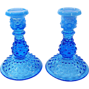 Fenton Candlesticks Hobnail Blue Opalescent 1980's