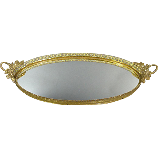 Vintage Matson Mirrored Vanity Tray With Roses